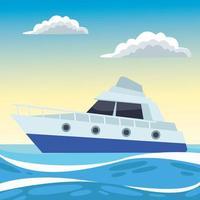 yacht sea transport in the ocean vector