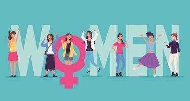 group of six beautiful young women characters celebrating and female gender vector