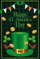 Feliz día de San Patricio letras con sombrero de copa y monedas vector
