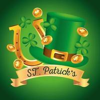 Feliz día de San Patricio letras con sombrero de copa y herradura dorada vector