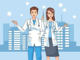 doctors couple characters with covid19 vaccine syringe on the city vector