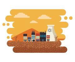 climate change effect city scape desertic scene vector