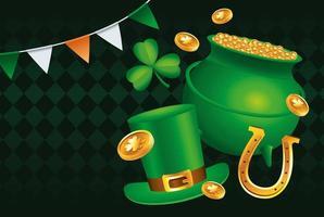 cartel del feliz día de san patricio con caldero del tesoro y sombrero de copa vector