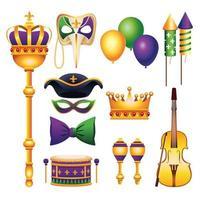 Paquete de once iconos de celebración de carnaval de Mardi Gras vector