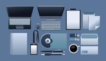 bundle of eleven mockup branding elements in blue background vector