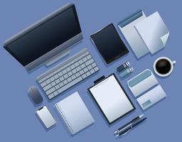 bundle of nine mockup branding elements icons vector