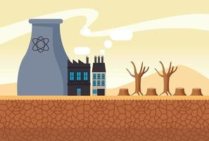 climate change effect city scape desertic scene with chimney factory vector