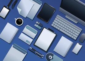 bundle of mockup branding elements pattern in blue background vector