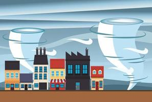climate change effect city scape scene with twister vector