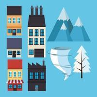 Conjunto de fachadas de casas con montañas y tornado. vector