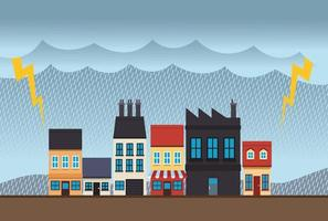 climate change effect city scape scene with electric storm vector
