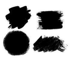 Abstract Brush Stroke. Black Ink Artistic Grunge Design Elements, Frames Labels for Text vector