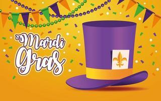 letras de carnaval de mardi gras con sombrero de copa y guirnaldas vector