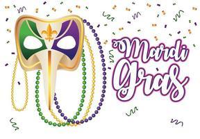Letras de carnaval de Mardi Gras con máscara de arlequín vector