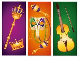 paquete de cinco iconos de conjunto de celebración de carnaval de mardi gras vector