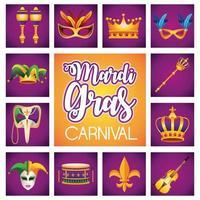 Letras de carnaval de Mardi Gras con doce iconos vector