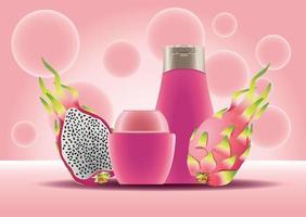 bote y botella para el cuidado de la piel, productos rosados y frutas del dragón vector