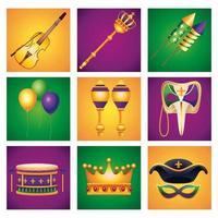 paquete de nueve iconos de conjunto de celebración de carnaval de mardi gras vector