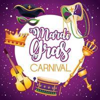 Letras de carnaval de Mardi Gras con iconos alrededor vector