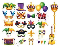 Paquete de veintidós iconos de celebración de carnaval de mardi gras vector