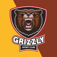 grizzly bear animal wild head character with lettering in shield vector