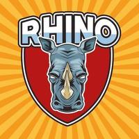 rinoceronte animal salvaje personaje de cabeza en escudo vector