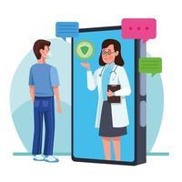 Hombre vestido con máscara médica con doctor en smartphone vector