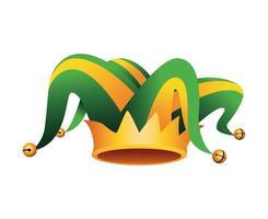 sombrero de bufón y corona accesorio de mardi gras vector