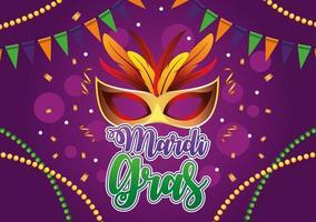 Letras de celebración de Mardi Gras con máscara y plumas vector