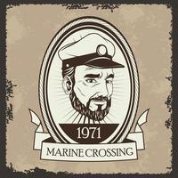 Viejo marinero pipa náutica emblema vintage vector