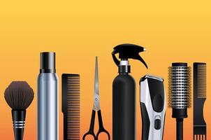 hairdressing tools equipment icons in orange background vector