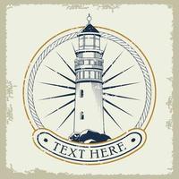 lighthouse nautical gray emblem icon vector