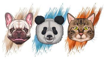 bundle of three animals domestics and wild set icons vector
