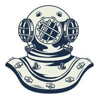 viejo buzo casco náutico gris vintage elemento icono vector