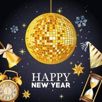 Feliz año nuevo letras con espejos bola discoteca y establecer iconos de celebración vector