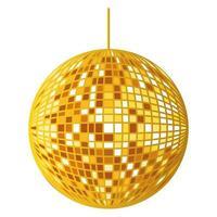 Espejos dorados esfera discoteca colgando vector