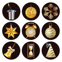 Feliz celebración de año nuevo con un paquete de nueve iconos en fondo blanco. vector