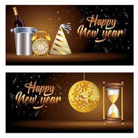 Feliz año nuevo letras con espejos bola discoteca e iconos de celebración vector