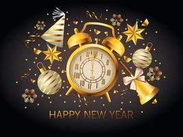 feliz año nuevo letras con reloj despertador dorado vector