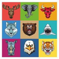 bundle of nine wild animals heads characters vector