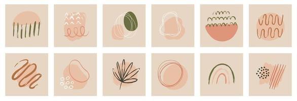 Set of modern minimalist floral leaves line style vector