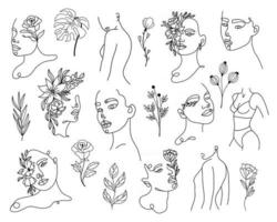 Set of linear woman portraits and floral elements vector