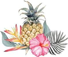 Pineapple and hibiscus composition with watercolor 2 vector