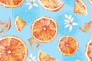 Seamless pattern of tangerines 22 vector