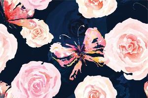 Rose seamless pattern with watercolor 21 vector