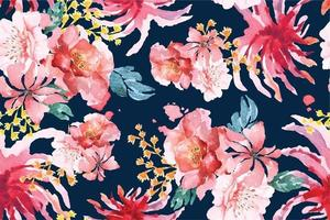 Rose seamless pattern with watercolor 28 vector