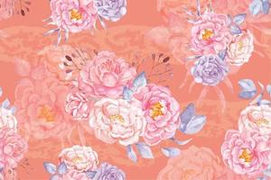 Rose seamless pattern with watercolor 22 vector