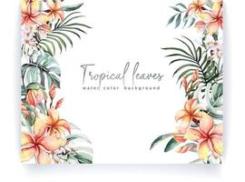 Frame with watercolor tropical leaves 3 vector