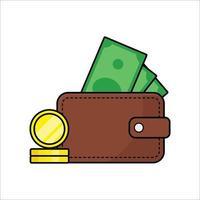 wallet with cash vector icon