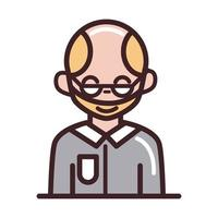 avatar male man portrait cartoon character line and fill style icon vector